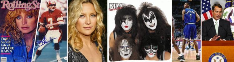 Goldie Hawn, Joe Theismann, Kate Hudson, KISS, Penny Hardaway, and John Boehner are among Tom's VIP students